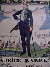 """RARE LITHOGRAPHIE """"MAURICE BARRES ECRIVAIN PATRIOTE"""" 1915 Illustré GUY ARNOUX"""