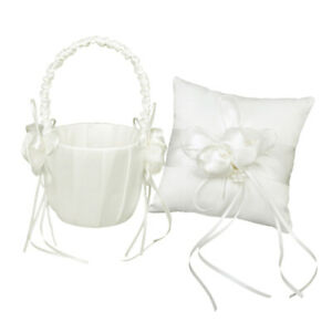 "Wedding Ivory Satin Pearl Beaded Ring Bearer Pillow Cushion 6"" & Flower Basket"