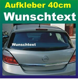 "Auto Heckscheiben-Aufkleber ""Wunschtext"" 40cm weiß Klebebuchstaben Wunschmotiv"
