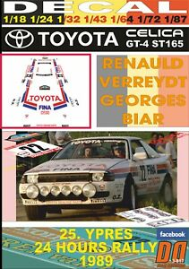 DECAL TOYOTA CELICA GT-4 ST165 R.VERREYDT YPRES 24 HOURS R. 1989 DnF (06)