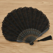 1pc Retro Chinese Style Hand Fan Black Lace Edge Bamboo Portable Folding Held