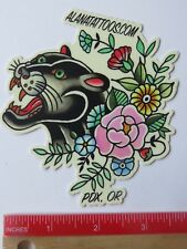 Collectible STICKER ~ ALANA TATTOOS ~ Portland, OREGON ~ Black Panther & Flowers