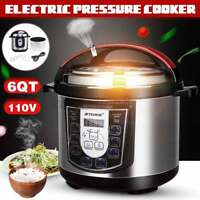 6L Electric Slow Pressure Cooker 1000W Multi-function 8 Presets Fast Cooking Pot