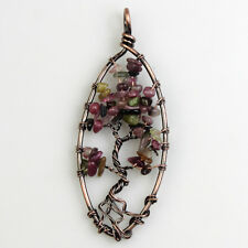 Natural Tourmaline Tree of Life Reiki Chakra Copper Oval Pendant for Necklace