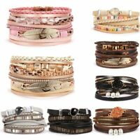 Multilayer Magnetic Clasp Genuine Leather Bracelet Bangle Crystal Wristband Set