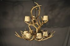 """Nine Light Faux Antler? Antler Chandelier With Leather Laced Shades 36"""" x 31"""""""
