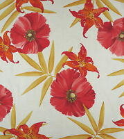BRUNSCHWIG & FILS Palmira Floral Orange Cream Cotton Linen New