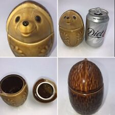 🌟Vintage Happy Hedgehog Sugar Pot Jam Jar Ceramic Rare Retro Kitchen Kitsch
