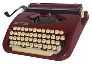 Burgundy Red 1960 Bundy Omega Princess Portable Typewriter with Original Case
