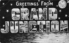 Grand Junction Colorado Large Letter Postcard~Scene in Letters~Smiling Moon~1905