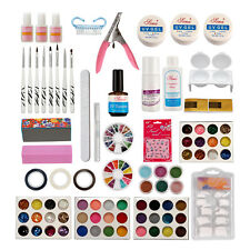 Nail Art Shimmer Set Acrylic Liquid Powder UV GEL Topcoat False Tips Glitter Kit