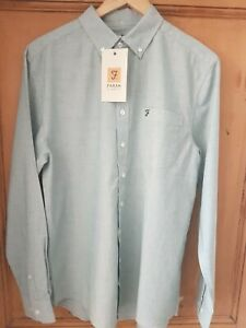 FARAH CASUAL FIT LONG SLEEVED SHIRT DARK TEAL SIZE M ONLY £18.99