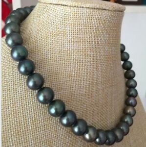 Stunning 18'' Nature 11-12MM Tahitian Black Pearl Necklace 14k