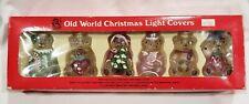 Vintage Set of 6 Old World Christmas Replica Bears Glass Light Covers