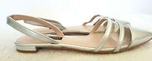 NINE WEST Ladies Designer Metallic Silver Leather Slingback Flats size 8M EUC
