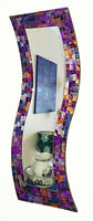 Hand made in Bali~Purple pink mosaic curved rectangular wall mirror-NEW