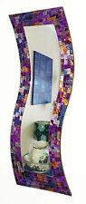 Viola Rosa Mosaico curvo rettangolare SPECCHIO parete-fatto a mano a Bali-NUOVO