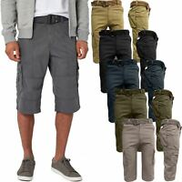 New Mens Shorts Cargo Combat Chino Long 3/4 Pants Multi Pockets Free Belt 30-44