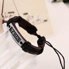 Punk Faith Genuine Leather Wristband Braid Bracelet Wristlet Rope Bangle Gifts