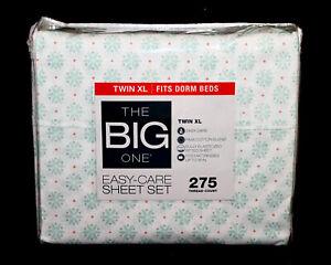 New THE BIG ONE Twin XL Dahlia Dot Sheet Set White Cotton Blend DORM SHEETS