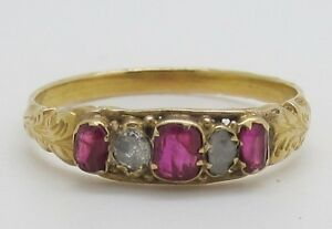 Beautiful Victorian 15ct Gold Ruby and Diamond Ring