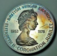 1978 BRITISH VIRGIN ISLANDS SILVER ONE DOLLAR BU UNC COLOR TONED COIN