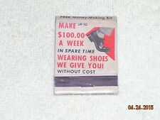 Vintage Make $100 a week wearing shoes without cost Matchbook NO MATCH HEADS