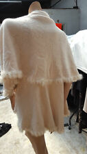 BNWT Magnificent Rosie Fortescue Fur Edged Cream Cape Coat Poncho One Size