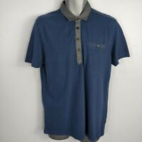MENS TED BAKER BLUE GREY POCKET POLO SHIRT TOP SIZE 4 M - L