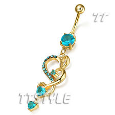 Luxury TT 14K Gold GP CZ Heart Dangle Belly Bar Ring 4 Colour Body (BL73)NEW