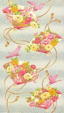 Mandalay Breeze Cotton Quilt Fabric Large Pink  Fan Panel Andover  Bfab