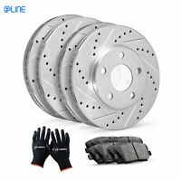 For BMW 335i, 335i xDrive Front Rear  Drill Slot Brake Rotors+Ceramic Brake Pads