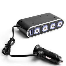 4Way Led Car Socket Cigarette Lighter Splitter W/Usb Power Charger Adapter Dc12V