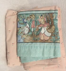 VTG Bed Sheet PETER RABBIT Beatrix Potter TWIN Size Set Cannon Pink White Flower