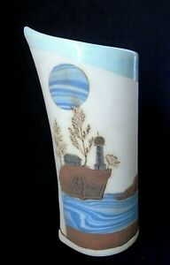 Vintage Holland Art Pottery Hand Painted Nautical Motif Signed Vase or Pitcher