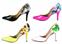 WOMENS HEELS SIZE UK 2.5,3,4,5,6 & 7 NEW LADIES HIGH MILAN FLOWER STILETTO SHOES