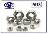 M18 - 18MM - 18mm STAINLESS STEEL HEX NUT STAINLESS ST/ST FULL NUT ST/STEEL