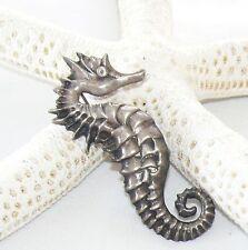 Vintage Seahorse Brooch 925 Sterling Silver Pin 15.95 grams Nautical