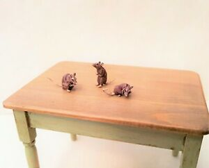 Dollhouse Miniature Hand Painted Alison Davies Tiny Mice ~ 1/12 Scale
