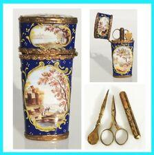 Nécessaire de voyage couture à coudre ciseaux ancien Antique sewing etui  XVIIIe