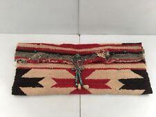 Vintage Native American Handmade Blanket Satchel with Turquoise Stones Handmade