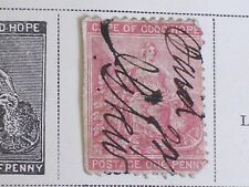 "1870s Cape of Good Hope Victoria 1 Penny Rose Stamp/Handwritten ""Paid""/Hinged"