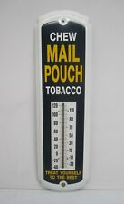 """Vtg Style Reproduction Chew Mail Pouch Tobacco 17"""" Metal Advertising Thermometer"""