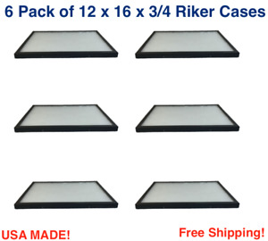 6 Pack of 12 x 16 x 3/4 Riker Display Cases Box for Collectibles Jewelry & More