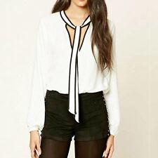 Women's Long Sleeve Casual Stripe Office OL Wear To Work Blouse Shirt Tops Plus