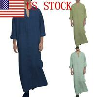 US Mens Long Sleeve Arab Thobe Islamic Saudi Robe Solid V-Neck Hoody Kaftan New