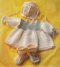 "EASY Sweet Baby Layette CROCHET PATTERN Dress~Bonnet~Booties~16-22"" 6 mo to 1 yr"