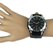 Breite Große Herrenuhr Herren Uhr Edelstahl Leder Armband Ösen Schwarz 8262