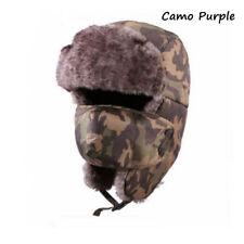 Outdoor Unisex Men Winter Trapper Aviator Trooper Warm Ski Hat With Mask Camo Yellow