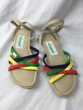 Vtg 70's Shoes Womens Wimzees Strappy Sandals Rubber  Heel Rainbow Sz 8